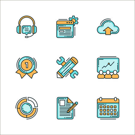business it: Icons with business related processes. Colored flat vector illustration. Icons isolated on white background. Headphones, communication, IT service and support, presentations, winners, the best, pie chart, notes, keyboard