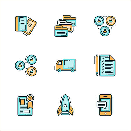 the reporting: Icons with business related staff. Colored flat vector illustration. Icons isolated on white background. Notebook, folders, team, collaboration, reporting, logistics, notes, winners, leader, rocket, smartphone