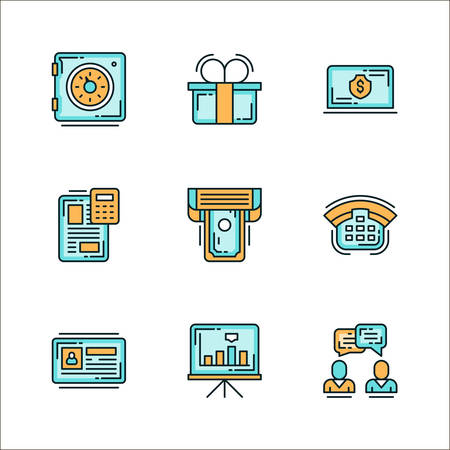 Icons with business related staff, means of communication. Colored flat vector illustration. Icons isolated on white background. Safe, gift, dollar, money, file, printer, phone, chart, graph, communication, dialogue Ilustrace