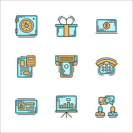 Los iconos con el personal relacionado con los negocios, los medios de comunicación. ilustración vectorial de color plana. Los iconos aislados sobre fondo blanco. Caja de seguridad, regalo, dólar, dinero, archivo, impresora, teléfono, tabla, gráfica, la comunicación, el diálogo Logos