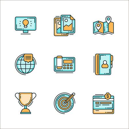 Set d'icônes avec le personnel de l'entreprise liée, des moyens de communication. Coloré illustration vectorielle plat. Icônes isolé sur fond blanc. Idée, conception, dans le monde entier, téléphone, gagnant tasse, cible, finance, répertoire, carte, route