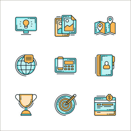 phonebook: Set of icons with business related staff, means of communication. Colored flat vector illustration. Icons isolated on white background. Idea, design, worldwide, phone, winner cup, target, finance, phonebook, map, route Illustration