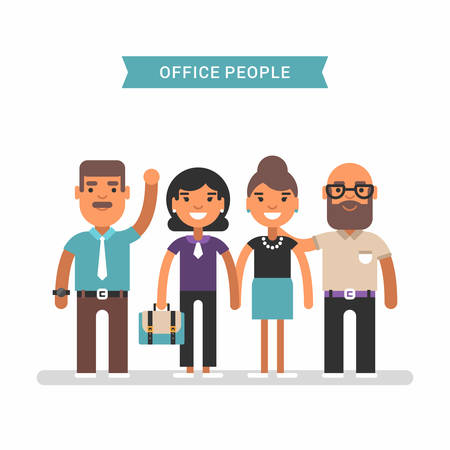 office wear: Office people in casual wear. Colored flat vector illustration isolated on white background