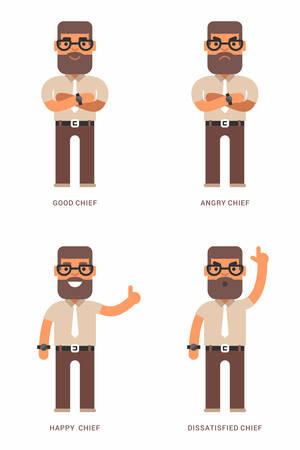 Bueno, enojado, feliz, jefe insatisfechos. Un conjunto de cuatro ilustraciones de vectores de colores planos. diferentes estados de ánimo