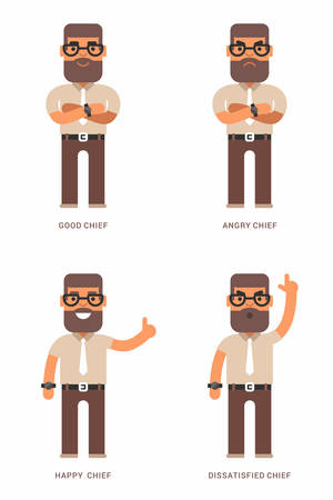 moods: Good, angry, happy, dissatisfied chief. A set of four colored flat vector illustrations. Different moods Illustration