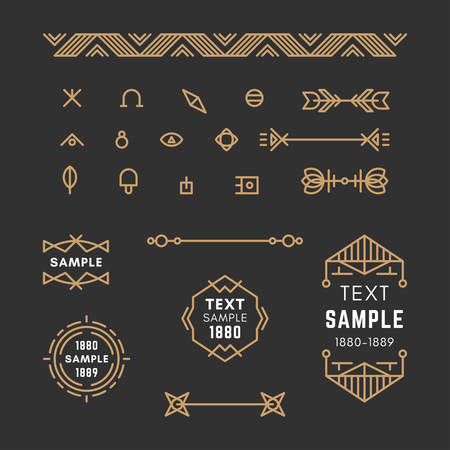 19th century style: Set of Line Art Decorative Geometric Vector Frames and Borders with Golden and Black Colors. century petroglyph, viking, slavic style.