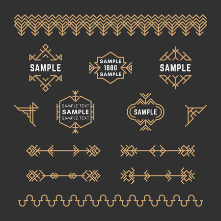 19th century style: Set of Line Art Decorative Geometric Vector Frames and Borders with Golden and Black Colors.