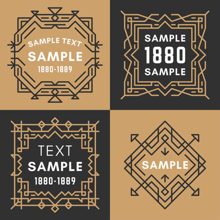 19th century style: Set of Four Line Art Decorative Geometric Vector Frames and Borders with Golden and Black Colors. Illustration
