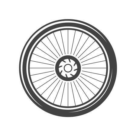 bycicle: Bycicle wheel. Black icon, logo element, flat vector illustration isolated on white background.