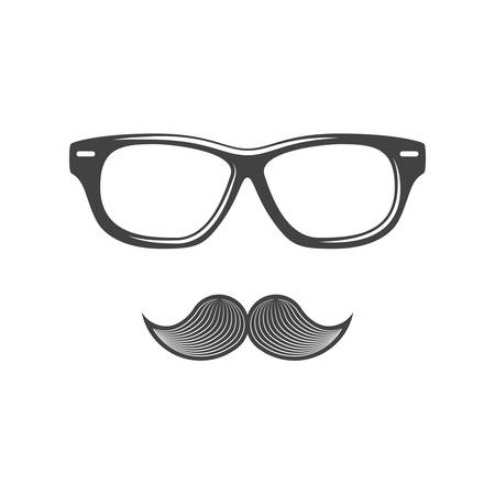 eyewear: Eyewear and moustache. Black icon, logo element, flat vector illustration isolated on white background. Illustration