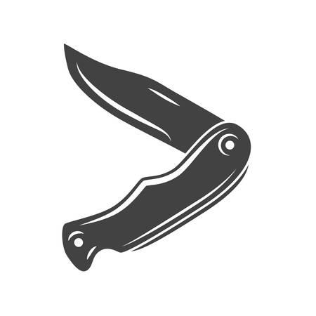 temperino: temperino Classic, coltello da tasca. icona nera, elemento logo, piatta illustrazione vettoriale isolato su sfondo bianco. Vettoriali
