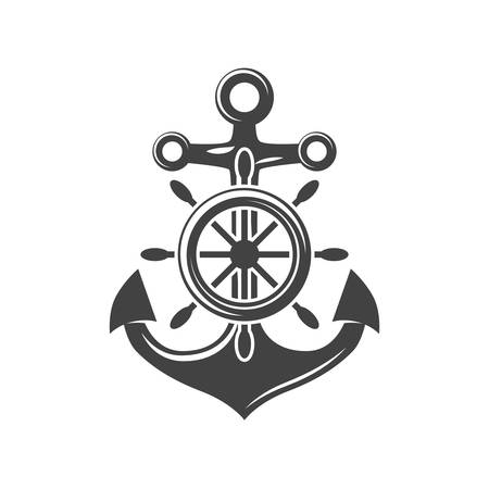 Ship steering wheel and anchor. Black icon, logo element, flat vector illustration isolated on white background.