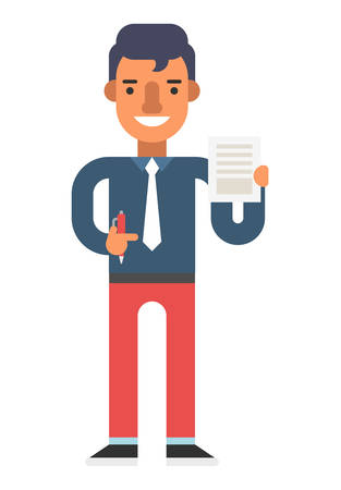 white pants: Man with pen and document in hands. Red pants, blue shirt. Coloured flat vector illustration isolated on white background. Illustration