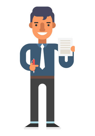 blue shirt: Man with pen and document in hands.  Black pants, blue shirt, white tie. Coloured flat vector illustration isolated on white background.