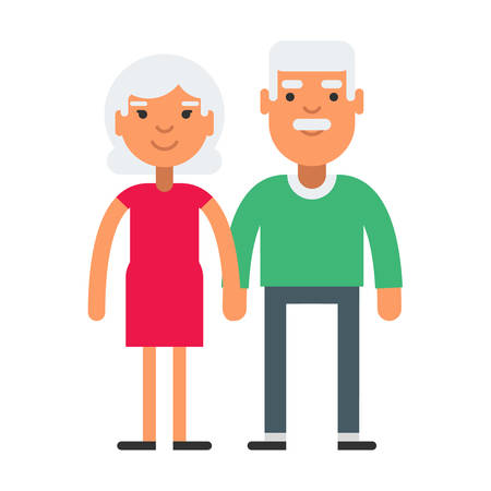 gray hair: Elderly cute couple with gray hair. Coloured flat vector illustration isolated on white background.