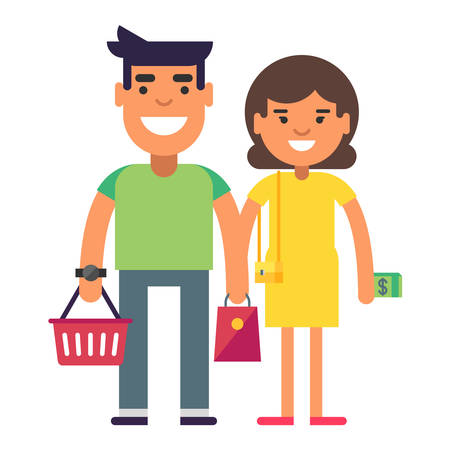 yellow dress: Young couple goes for a shopping. Woman in yellow dress with dollars in hand. Coloured flat vector illustration isolated on white background Illustration