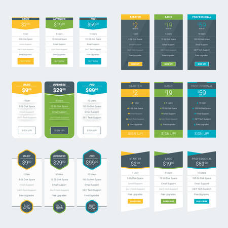 Set of Pricing Table Design Templates for Websites and Applications. Vector Pricing Plans. Flat Style Vector Illustration