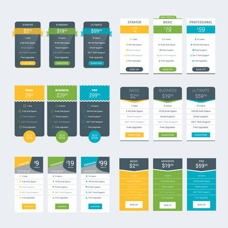 tariff: Set of Pricing Table Design Templates for Websites and Applications. Vector Pricing Plans. Flat Style Vector Illustration