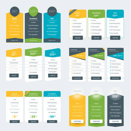featured: Set of Pricing Table Design Templates for Websites and Applications. Vector Pricing Plans. Flat Style Vector Illustration