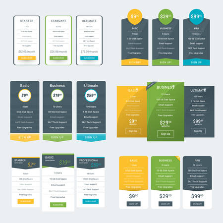 pricing: Set of Pricing Table Design Templates for Websites and Applications. Vector Pricing Plans. Flat Style Vector Illustration