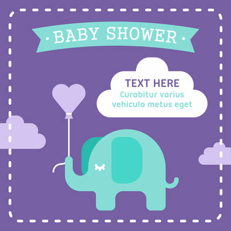 air baloon: Baby shower invitation template with an elephant. Clouds, heart shaped air baloon. violet and seagreen. Colored flat vector illustration on violet background.