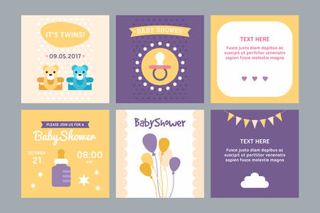 mellizos ni�o y ni�a: A set of templates for baby shower invitation and post card. Boy, girl, twins, air baloons, milk bottle, teddies. Colored flat vector illustration.