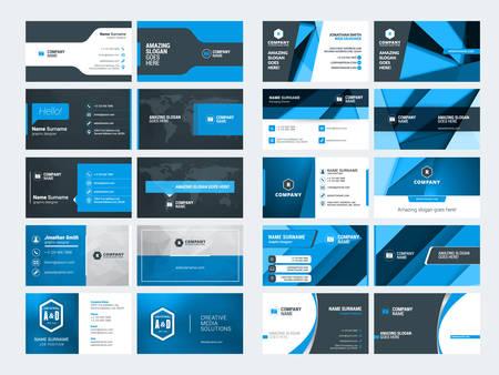 현대 크리 에이 티브 비즈니스 카드 템플릿 집합입니다. 블루와 블랙 색상입니다. 플랫 스타일 벡터 일러스트 레이 션. 디자인 문구
