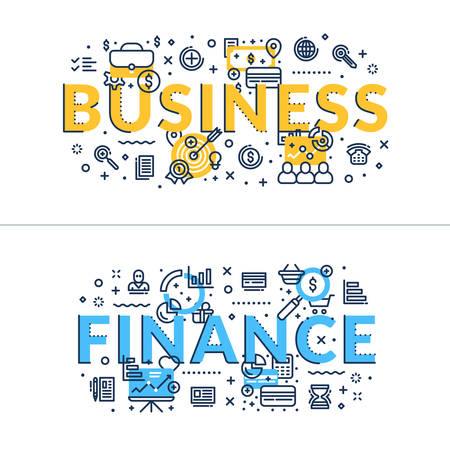 headings: Business and Finance headings, titles. Horizontal colored flat vector illustration.