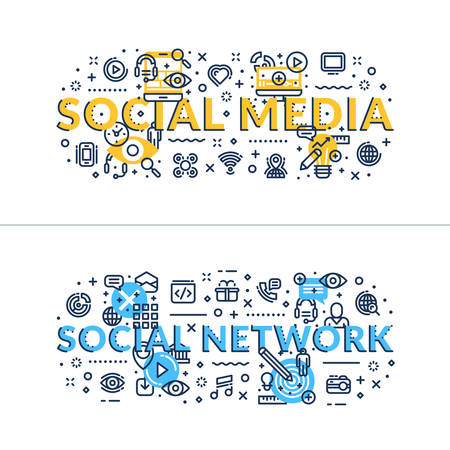 headings: Social Media nad Social Network headings, titles. Horizontal colored flat vector illustration. Illustration