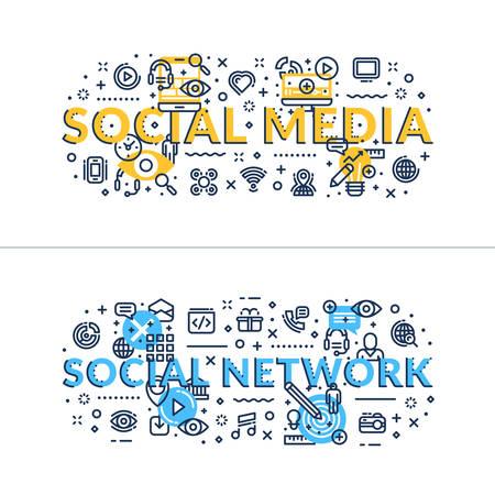 headings: Social Media nad Social Network headings, titles. Horizontal colored flat vector illustration. Illustration