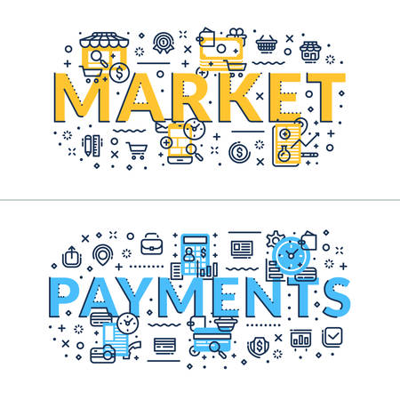 headings: Market and Payments headings, titles. Horizontal colored flat vector illustration.