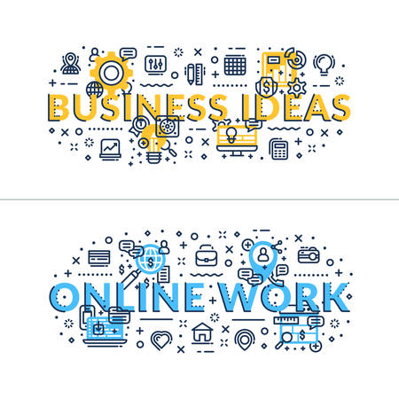headings: Business Ideas and Online Work headings, titles. Horizontal colored flat vector illustration.