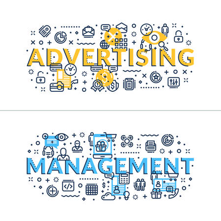 headings: Advertising and Management headings, titles. Horizontal colored flat vector illustration.