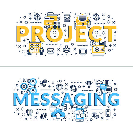 headings: Project and Messaging headings, titles. Horizontal colored flat vector illustration.