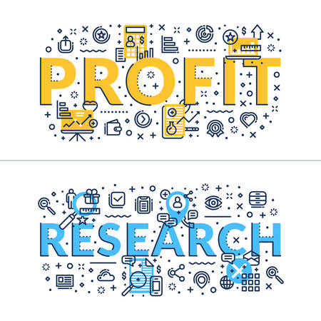 headings: Profit and Research headings, titles. Horizontal colored flat vector illustration. Illustration