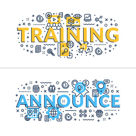headings: Training and Announce. Headings, titles. Horizontal colored in blue and yellow flat vector illustration. Illustration