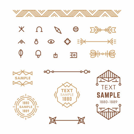 19th century style: Set of Line Art Decorative Geometric Vector Frames and Borders in Brown. Vector Ornaments, Vector Decoration, Line Ornament, Vector Logos, Vector Labels. 19th century petroglyph, viking, slavic style.