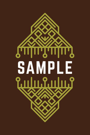 Slavic or Viking Style Oldfashioned Art Decorative Geometric Vector Frames and Borders. Green on Brown Background. Vector Ornaments, Vector Decoration, Line Ornament, Vector , Vector Labels