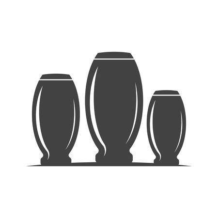 highball: Collins type highball three glasses, barrel shape. Black icon, element, flat vector illustration isolated on white background.