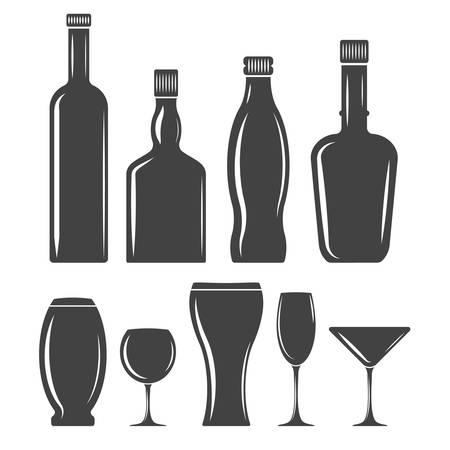 glasswear: Set of glasswear icons. Black elements, flat vector illustration isolated on white background.