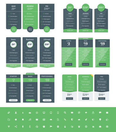 tariff: Set of Pricing Table Design Templates for Websites and Applications. Vector Pricing Plans with Icon Set. Green and Black Colors. Flat Style Vector Illustration
