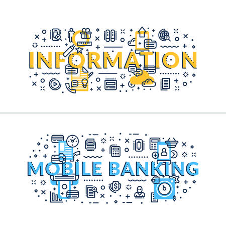 headings: Information and Online Banking headings, titles. Horizontal colored flat vector illustration.