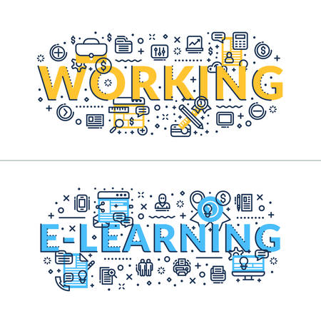headings: Working and E-learning headings, titles. Horizontal colored in blue and yellow flat vector illustration. Illustration