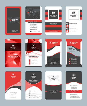 Business card templates. Stationery design vector set. Red and black colors. Vertical business cards. Flat style vector illustration
