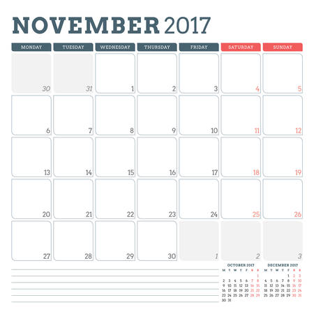 calender icon: Calendar Planner Template for November 2017. Week Starts Monday. 3 Months on Page. Place for Notes. Stationery Design. Vector Calendar Template Illustration