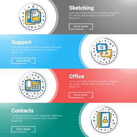 advertising material: Set of flat line business website banner templates. Vector illustration. Modern thin line icons in circle. Sketching, Support, Office, Contacts
