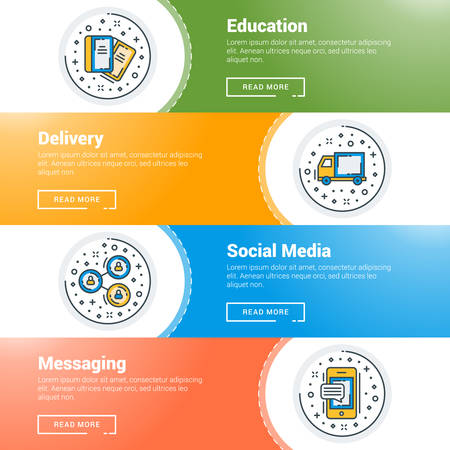 dashed: Set of flat line business website banner templates. Vector illustration. Modern thin line icons in circle. Education, Delivery, Social Media, Messaging