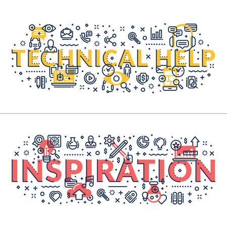 headings: Technical Help and Inspiration headings, titles. Horizontal colored flat vector illustration. Illustration