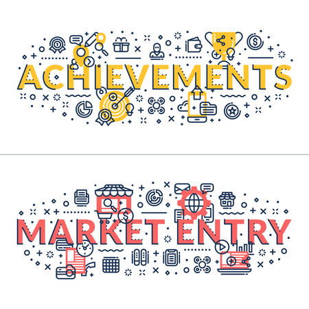 headings: Achievements and Market Entry headings, titles. Horizontal colored flat vector illustration.