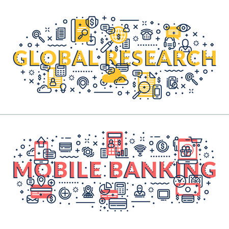 headings: Global Research and Mobile Banking headings, titles. Horizontal colored flat vector illustration.